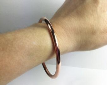 Copper Bangle - 8 ga - 6 ga - Thick Heavy Gauge - Stacking Bracelet - Handcrafted Custom Size