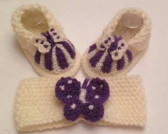 Baby Knitting patterns Butterfly Cuff boots and hairband approx 0-3mths
