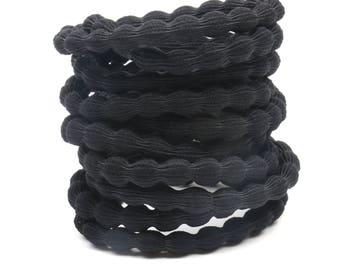 Black Hair Elastic (10 PCS)  Ponytail Holder Convex Thick Hair Elastic Craft Hair Elastic Tie without Knot