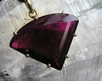 Rubellite Tourmaline Pendant in 9ct Gold