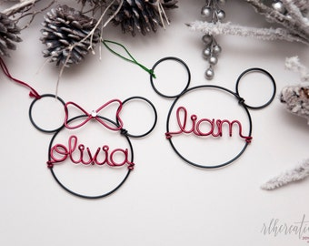Personalized Mickey Mouse Ornament / Personalized Disney Ornament /Minnie Mouse Ornament /Holiday Decor /Christmas Decor / Disney Lover Gift