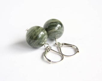 Green Line Quartz Earrings Sterling Silver Lever Back Leverback Natural Stone Striped Green Earrings Moss Green Seaweed Quartz #17570