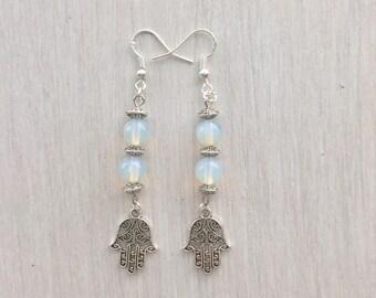 Boho opal hamsa earrings / boho earrings / sterling silver earrings / drop earrings / hippie jewelry / hippie earrings