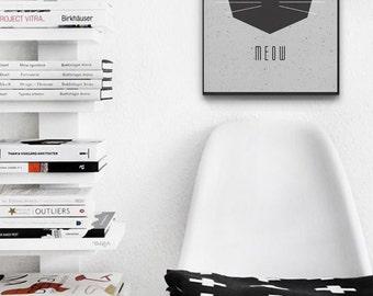 Cat Says Meow Scandinavian Poster - Printable Wall Art - Black Cat Print - Kitten Meow Poster - 50x70 cm, A3, 30X40 cm
