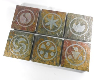 Video Game Coasters - SAGE MEDALLIANS -  Hand Carved Coasters Set of 6 - Video Game Art Drink Coasters, Video Game Decor, Gamer Gift, Zelda