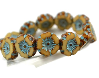 12mm Czech Hawaiian Flower - Turquoise and Beige Picasso - Opaque Glass Chunky Carved Flower - QTY: 12