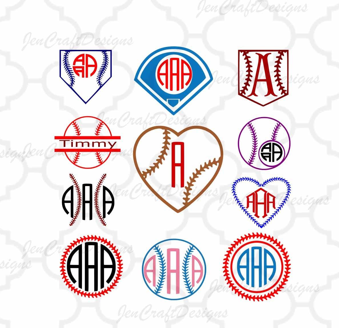 Baseball svg Softball Monogram Frames SVG,Dxf,Eps,Png Softball ...