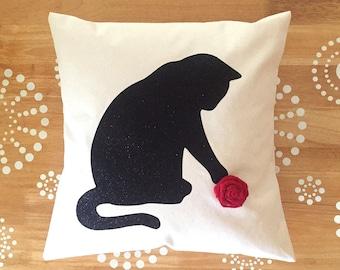 Floral Cat Pillow Cover, Black Cat Throw Pillow, Glitter Throw Pillow, Cat Rosette Pillow