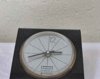 Vintage Plexiglas Desk Clock 1970, Stamped, J. BONET, offices, Nice, France