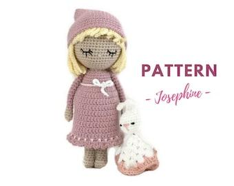 Josephine | Crochet Doll Pattern, Amigurumi Doll Pattern, Amigurumi Pattern, Sleeping Crochet Doll, PDF, Crochet pattern