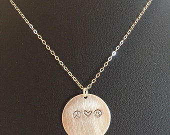 Peace, Love, & Happiness Hand-Stamped Sterling Silver Necklace