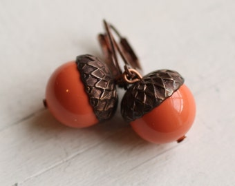 Acorn Earrings ...  Coral Tangerine Orange Swarovski Pearls Copper Oak