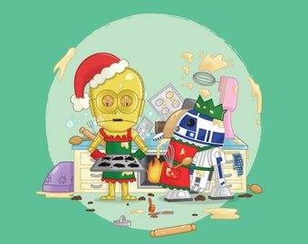 Star Wars Christmas Cards - C3PO - R2D2 - Droids - Robots - Baking - Cooking - Funny - Festive - Sci-fi - Geeky - Mince Pies