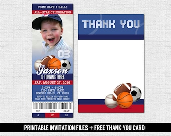 SPORTS TICKET INVITATIONS All-Star Birthday Party + Thank You Card (print your own) Personalized Printable Files - Baseball, Football