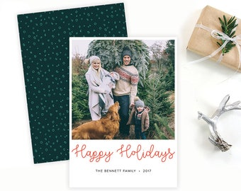 Happy Holidays Family Photo Card
