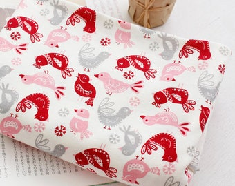 """Chicken Cotton Knit Double Fabric by the Yard 67"""" Wide MR Pink Chicken"""