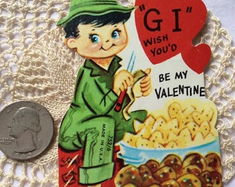 Vintage 1960s 1970s Valentine Card Military GI Peeling Potatoes Made In USA Paper Ephemera Scrap Booking Arts Crafts