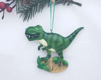 Green Tyrannosaurus Rex Dinosaur Personalized Christmas Ornament / T-Rex / Custom Names or Message / Stocking Stuffer