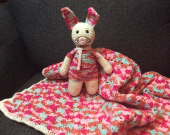 Crocheted Handmade Baby Blanket Throw and Toy Stuffed Animal Pink Blue White