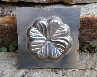 Vintage Metal Tin Chocolate Mold Clover
