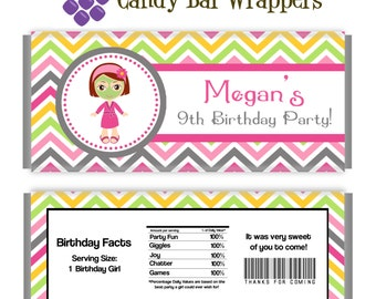 Spa Party Candy Wrapper - Pink, Orange Chevron, Little Spa Girl Personalized Birthday Party Favor Candy Bar Wraps - Digital Printable File