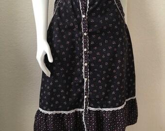 Vintage Women's 70's Boho Skirt, Black, Pink, Floral, Knee Length by Eber (L)
