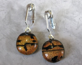 Clip On Earrings, Dichroic Orange Dangle Earrings, Non Pierced Earrings, Clip On Fashion Earrings - Orange Cove - 1558 -2