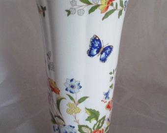Aynsley cottage garden vase, butterfly, china vase, ref 5