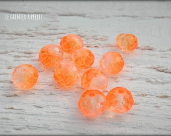 Orange neon 10 X 8 mm ABACUS beads