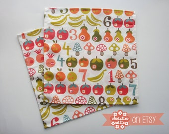 "Linen-Cotton Napkins ""Fruit & Mushroom Count"" 9.75 x 10 inches 24.5 x 25 cm Scandinavian Folk Apples Bananas Back to School Math Mod"