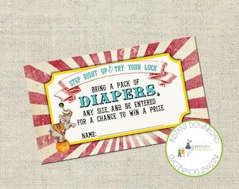 Vintage Circus / Cirque Du Bebe DIAPER RAFFLE Insert, Printable