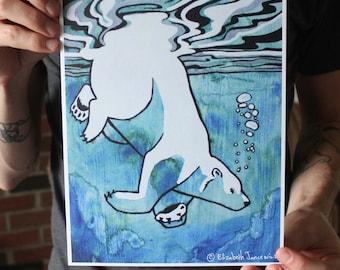 Polar Bear Swimming Underwater; Fine Art Print