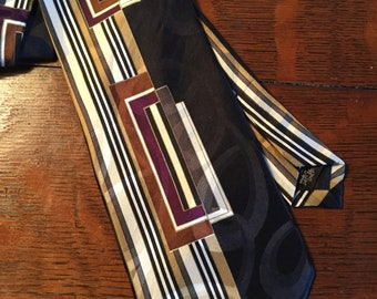 1950's Retro Styled Signed Screenplay by Martin Wong Silk Neck Tie 1980's Black Brown White 100% Silk Fabric Men's Clothing Accessory Formal
