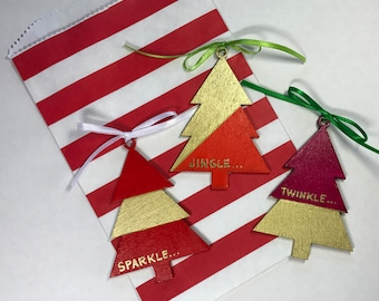 Jingle-Twinkle-Sparkle Personalized Wood Ornaments - Red and Gold Leaf with Gift Bag - Jody Designs