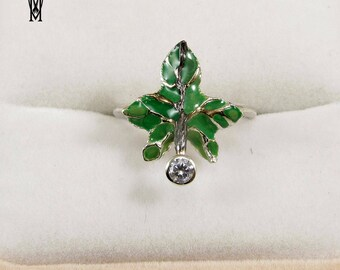 Nature Leaf Handmade Ring Sterling Silver 925 , Green enamel