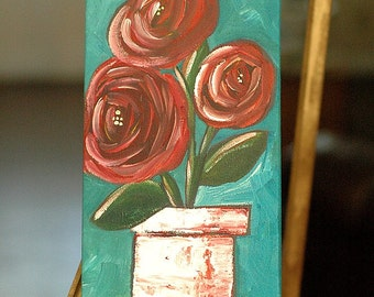 Original Acrylic Painting - Round and Round - Whimsical Roses in a Flower Pot