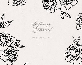 Apothecary - Botanical Line Clip Art and Vectors