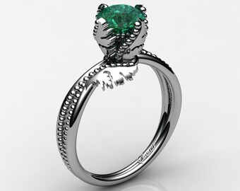Swan 14K White Gold 1.0 Ct Emerald Fairy Engagement Ring R1029-14KWGEM