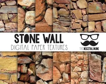 Premium Digital Paper Set, Stone Wall Digital Paper, Scrapbook Paper, Stone Texture, Stone Wall, Instant Download