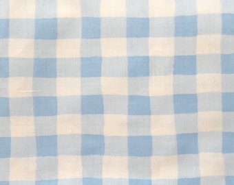 "OOP Karen Jarrar Marcus Brothers Bros Textiles Large Baby Blue White Gingham Checkered Check 18"" Quilt Quilting Sewing 100% Cotton Fabric"