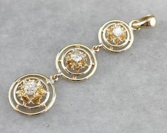 Buttercup Diamond Pendant, Three Stone Pendant, Anniversary Gift, Past Present Future PHC090QE