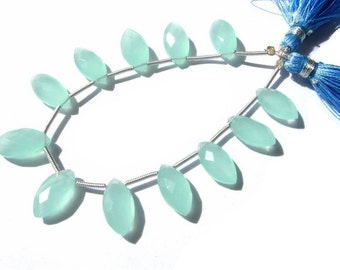 16 Pcs AAA Aqua Chalcedony Faceted Marquise Briolettes Size 14x7mm - High Quality Great Price