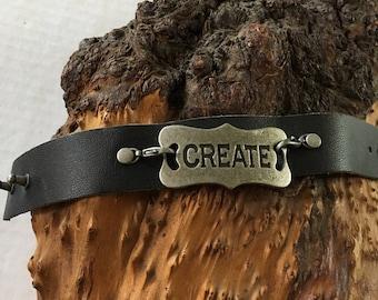 Black Leather Cuff Create