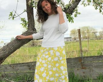 Skirt - A-line Skirt - Modest Skirt - Knee Length - Citron - Floral Stretch - Summer - Soft Silky Stretch Fabric - Custom Made - Soft Knit