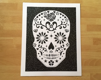 Sugar Skull Wall Art Paper Cut UNFRAMED, Day of the Dead art, Whimsical Skull, Skull art, Dia de los Muertos, Gothic Dark, Halloween Decor