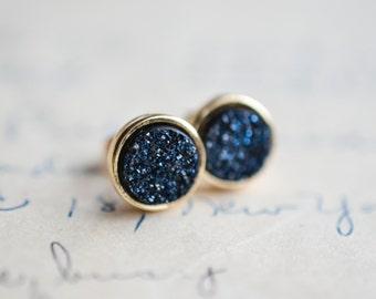 Midnight Blue Druzy Earrings - Blue Druzy Earrings - Navy Druzy Earrings - Gold druzy earrings - dark blue druzy - spring earrings