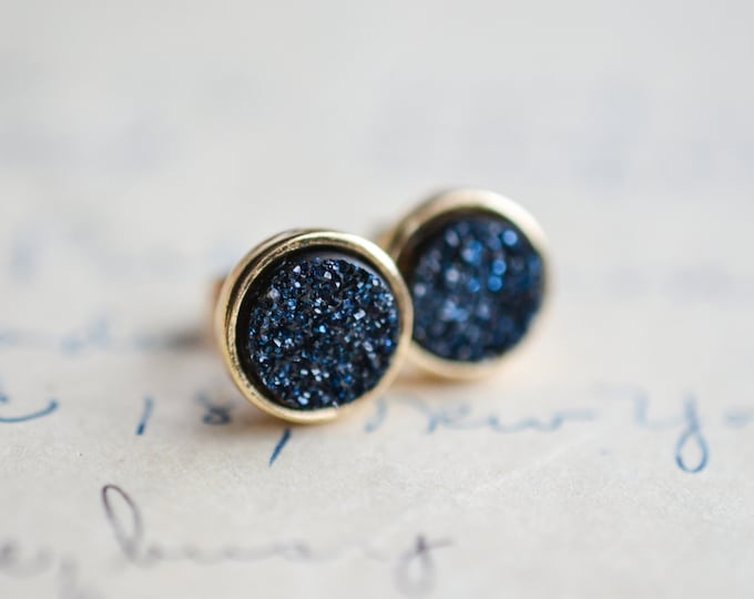 Midnight Blue Druzy Earrings - Blue Druzy Earrings - Navy Druzy Earrings - Gold druzy earrings - dark blue druzy - spring earrings