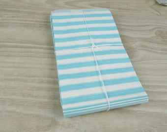 Pouches gift bags - set of 10 - white paper with horizontal stripes turquoise 9 x 15 cm for gifts, jewelry.