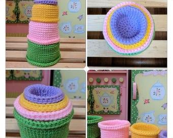 Handmade Crochet Stacking/Nesting Cups - Baby Toys