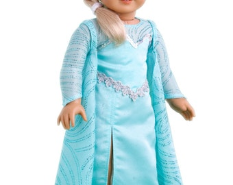 Snow Queen Elsa - Doll Clothes for 18 inch American Girl Doll - Long Turquoise Dress with Sparkling Cape and Silver Shoes